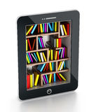 Bookshelf in tablet computer Royalty Free Stock Photos
