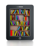 Bookshelf in tablet computer Royalty Free Stock Images