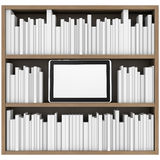 Bookshelf and tablet PC Royalty Free Stock Image