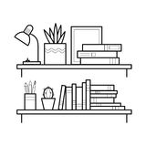 Bookshelf in thin line style. Royalty Free Stock Images