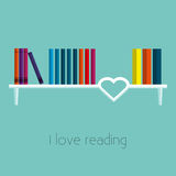 Bookshelf Vector illustration. The books are on the white bookshelf decorated in the form of heart Flat design Royalty Free Stock Images