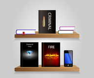 Bookshelf. Vector bookshelf with some books and shelf. Background Royalty Free Stock Photography