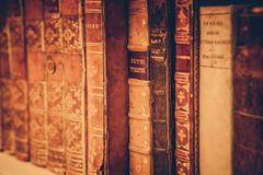 Bookshelf With Vintage Books royalty free stock image