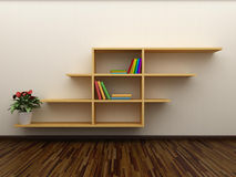 Bookshelf on the wall Stock Image