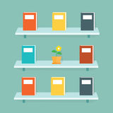 Bookshelf on the wall. The cartoon business idea concept Stock Photography
