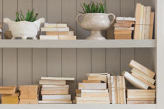 Bookshelf is white book with wooden white shelf. Royalty Free Stock Photos