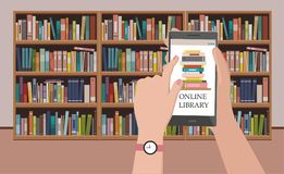 Bookshelve with books on phone screen at bookshelf background, Online Library education concept. Vector Illustration Stock Photography