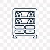 Bookshelve wektorowa ikona odizolowywająca na przejrzystym tle, linea ilustracja wektor