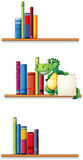 Bookshelves with an alligator holding an empty signboard Royalty Free Stock Photos