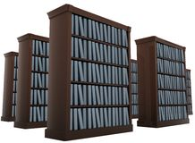 Bookshelves, archive. 3d render isolated on white Royalty Free Stock Photo
