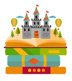 Bookshelves with books in room interior. Home library with literature, fairy tales school textbook education training vector illus. Tration Stock Photos