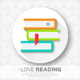 Bookshelves in the circle form with colorful books. Royalty Free Stock Image