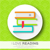 Bookshelves in the circle form with colorful books. Reading. Royalty Free Stock Photos