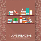 Bookshelves with colorful books. Royalty Free Stock Images