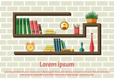Bookshelves with colorful books. Library and literature, interior and study. Bookshelf vector icon. The elements for graphic design. Flat style. Home library stock illustration