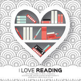 Bookshelves in the form of heart with colorful books. Stock Photography