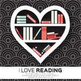 Bookshelves in the form of heart with colorful books. Stock Images