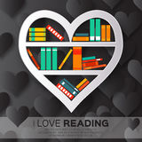 Bookshelves in the form of heart with colorful books. Royalty Free Stock Photo