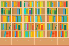 Bookshelves full of books both in the library. Vector illustration vector illustration