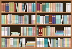 Bookshelves full of books. Education library and bookstore concept. Seamless pattern. Vector illustration stock illustration