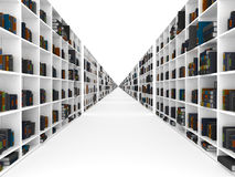 Bookshelves inifinity. Bookshelves with book infinity perspective royalty free stock photos
