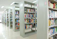 Bookshelves in library Royalty Free Stock Photo