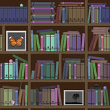 Bookshelves. A lot of interesting books. Vector illustration Stock Photos