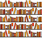 Bookshelves. With lots of books in soft colors Royalty Free Stock Images