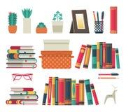 Bookshelves set. Flat shelf book in room library, reading book office shelf wall interior study school isolated stock illustration