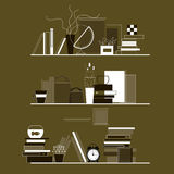 Bookshelves with a set of textbooks and literature, gift bags, alarm and other interior items. Set of bookshelves with textbooks and literature, home furnishings Stock Illustration