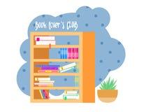 Bookshelveswith kleurrijke boeken De club van de boeklezing Ik houd van boeken Huisbibliotheek met literatuur, vectorillustratie royalty-vrije illustratie