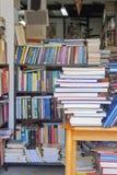 Bookshop. Big pile of used books at book shop Stock Photos