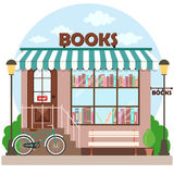 Bookshop bookstore building facade. A row of books in the window. Vector illustration Stock Photo