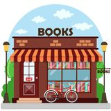 Bookshop bookstore building facade. A row of books in the window. Vector illustration