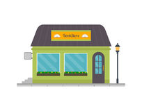 Bookshop building front in flat style. Royalty Free Stock Photos