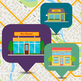 Bookshop, ice cream shop and mini market on map. Stock Photo