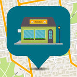 Bookshop icon pinpoint on city map. Royalty Free Stock Images
