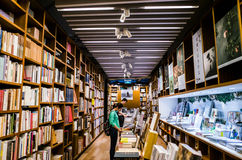 Bookshop. A modern spacious bookshop in natural color Royalty Free Stock Photography