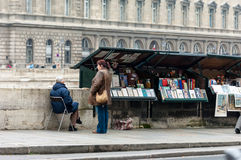 Bookstall, Paris. Paris, France, Novemer 12, 2005. Bookseller on the bank of the Seine Stock Images