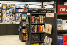 Bookstore. Section of bookstore with various genre. Photo was taken on 10 August 2012 royalty free stock image