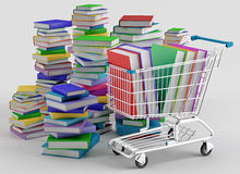 Bookstore. Stacks of colorful books next to a shopping cart Stock Photography