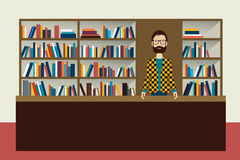 Bookstore and bookseller man. Stock Image