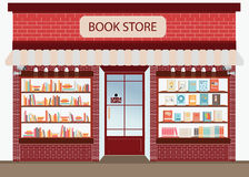 Bookstore with bookshelves. Bookstore with bookshelves, exterior building vector illustration royalty free illustration