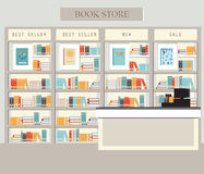 Bookstore with bookshelves. Interior building vector illustration vector illustration