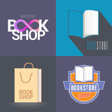 Bookstore, bookshop vector emblem, logo. Modern and retro style design elements with open book for book store Royalty Free Stock Image