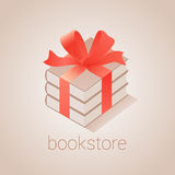Bookstore, bookshop vector emblem, sign, symbol, logo, icon. Graphic design element with books as gift for book store, book shop, e-books. Education concept Royalty Free Stock Image