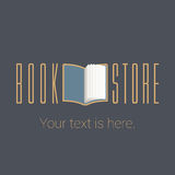 Bookstore, bookshop vector emblem, sign, symbol, logo. Icon. Template design element with open book for business related to books - publishing, studying, e Stock Image