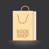 Bookstore, bookshop vector emblem, symbol, icon, logo. Template graphic design element with book as a bag for bookshop, e-book store Stock Images