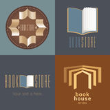 Bookstore, bookshop vector icon, logo. Set of graphic design elements with open books Royalty Free Stock Photo