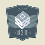 Bookstore, bookshop vector sign, icon, symbol, emblem, logo. Vintage style graphic design element with books for business related to book shop, book store Stock Image